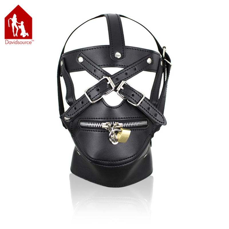 Davidsource Leather Head Harness With Mouth Zipper Chin Restraint Hood Lockable Collar Sub Slave Punishmen Fetish Sex Toy