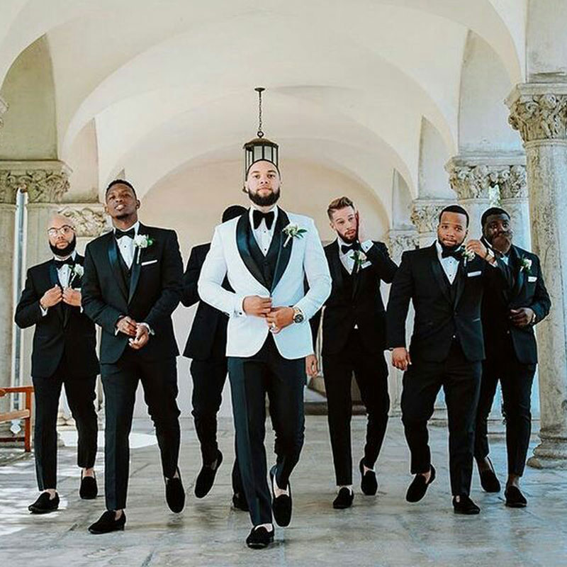 White Groom Tuxedo Wedding Suits For Men Blazer Latest Coat Pants Designs Terno Masculino Groomsmen Suit Formal Man Suits 3Piece