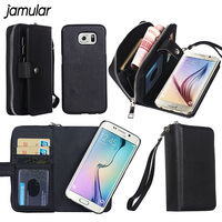 Case For Galaxy S6 PU Leather Zipper Handbag Wallet Purse With Card Slot Phone Case Cover