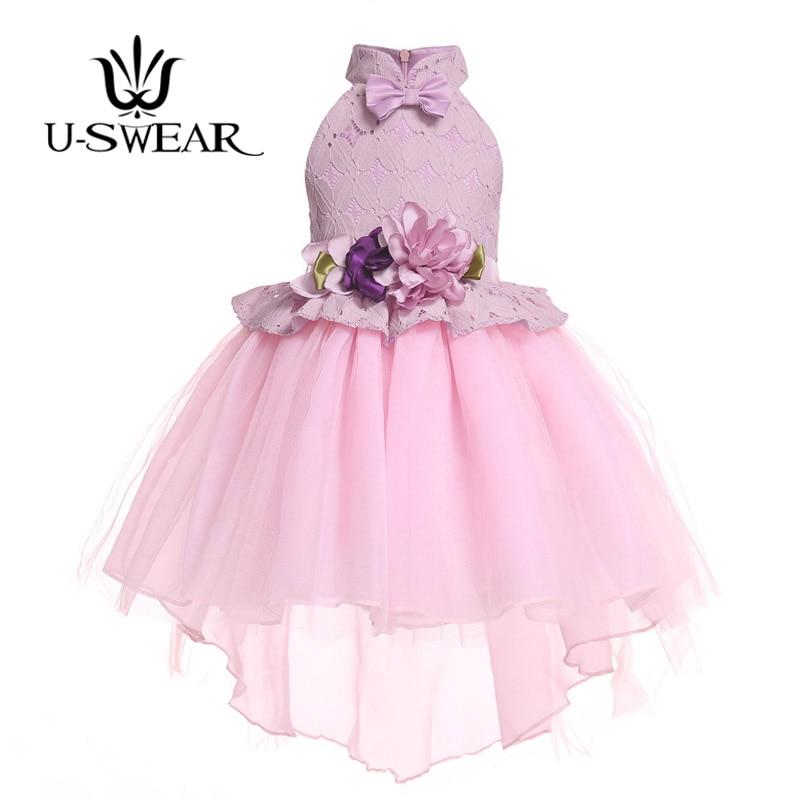 U-SWEAR 2019 New Arrival Kid   Flower     Girl     Dresses   Sweetheart Sleeveless Lace   Flower   Appliqued Pleat Chiffon Ball Gown Vestidos