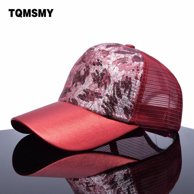 2017 Mode Marke Snapback Kappe Frauen Pailletten Hüte Mädchen Trucker Kappe Glänzenden Mesh Knochen Sommer Baseball Caps Für Frauen Gorras