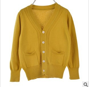 Online Shop kids fashion solid color yellow dark green sweater ...