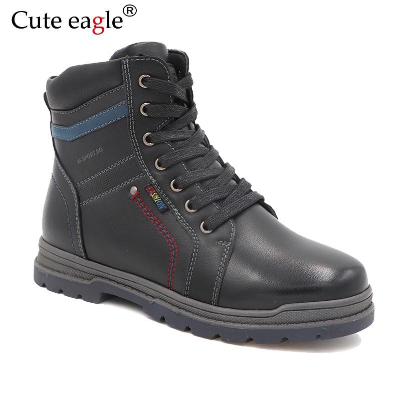 Winter Waterproof Boys Felt  Boots Pu Leather Mid-Calf Children's Shoes Warm Plush Rubber Winter Snow Boots for Boys EU 32-37