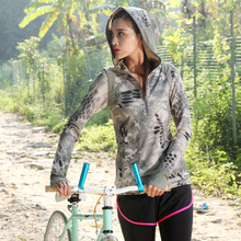 2018 New Outdoor Cycling Women Camouflage Long Sleeve Jerseys Hooded Windproof Bicycle Jersey Jacket Cycling Clothing