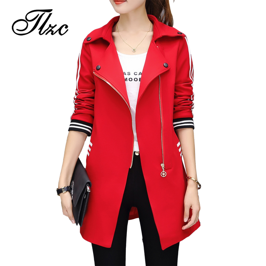 TLZC Autumn Winter High Street Woman Trench Coat Fashion 2017 Lady Casual Outwear Plus Size M-4XL Female Loose Clothing