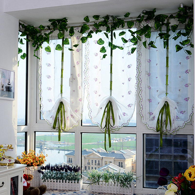Floral Voile Roman Curtains Gauze Tulle Sheer Window