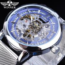 цена на Winner Men Fashion Mechanical Watches Blue Silver Sport Ultra-thin Analog Watch Mesh Steel Band Business Clock Relogio Masculino