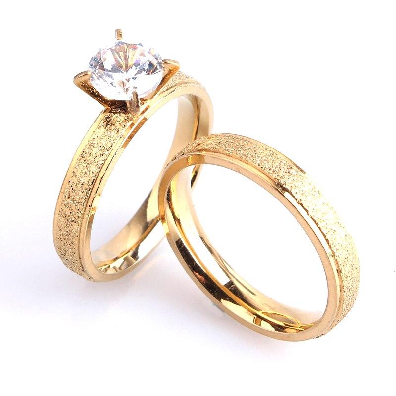 DemüTigen Freies Verschiffen 4mm Liebhaber Gold Farbe Peeling Zircon 316l Edelstahl Hochzeit Ringe Für Männer Frauen Großhandel SchöN In Farbe
