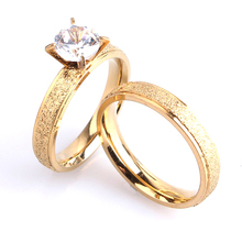 free shipping 4mm lovers gold color Scrub Zircon 316l Stainless Steel Wedding