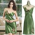Free Shipping Womens Satin Sleepwear Sleeveless Nightdress Embroidery Trimed Summer  Silk Nightwear Nightie