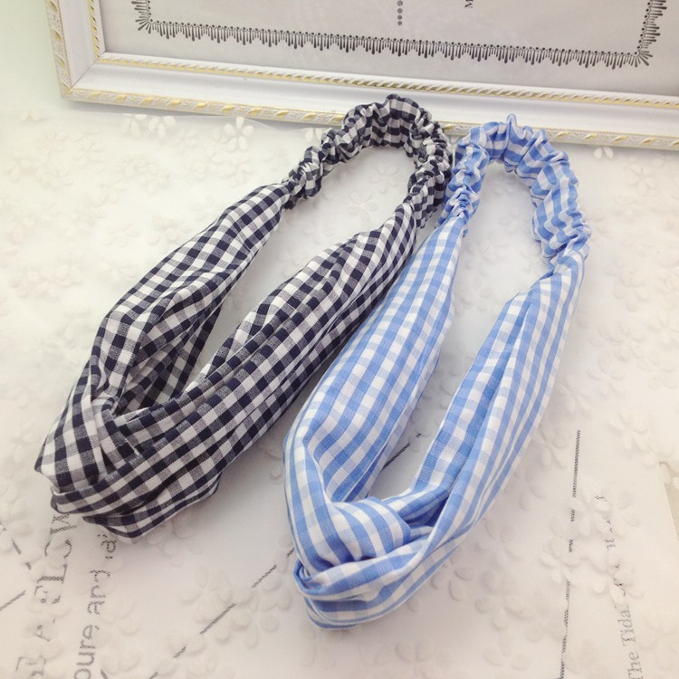 2017 New Womens Turban Headband Plaided Twist Headband Elatic Strench Headwrap