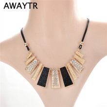 AWAYTR Luxury Necklace Fashion Women Vintage Gold Chain Crystal Necklaces & Pendants Necklace Jewelry Wedding Summer Accessories