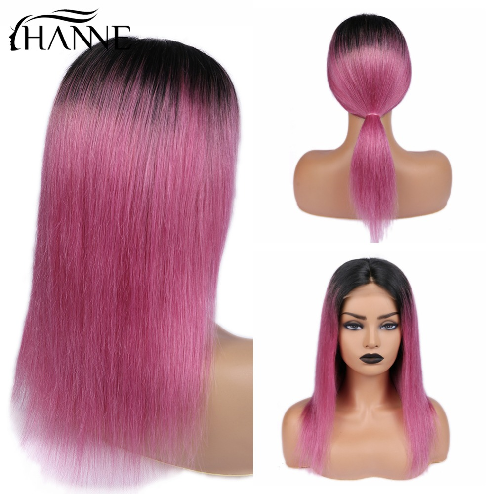 HANNE 4*4 Closure Human Hair Wigs Ombre Pink Mixed Purple Color Wig 150 Density Remy Straight Wigs For Women Cosplay/Party Wig