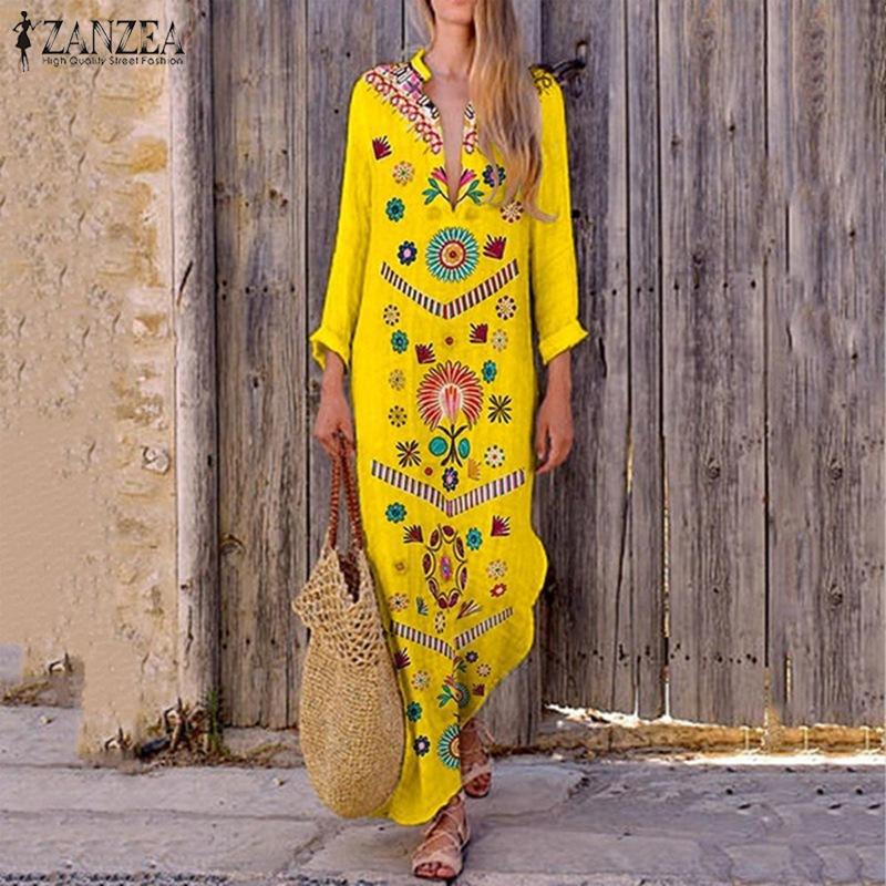 2019 ZANZEA Women Bohemian Floral Long Dress Summer Split Hem Party Sundress Ladies Long Sleeve V Neck Work Vestido Kaftan 5XL