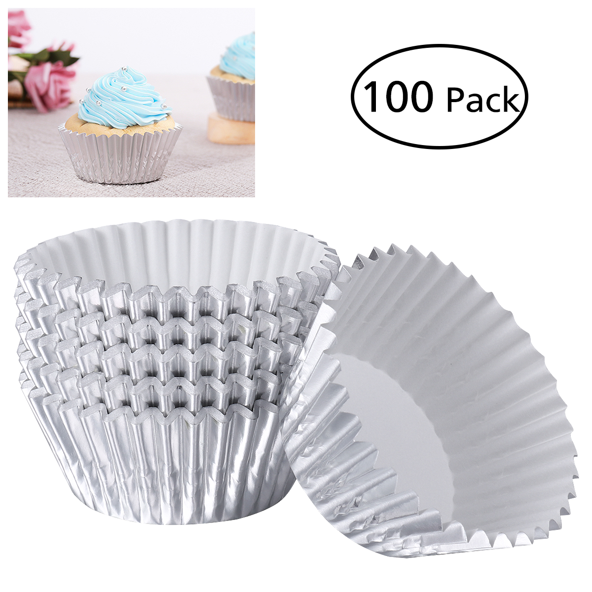 Us 254 39 Offrosenice 100pcs Aluminum Thickened Foil Cups Cupcake Liners Mini Cake Muffin Molds Baking Molds Silver In Cake Molds From Home