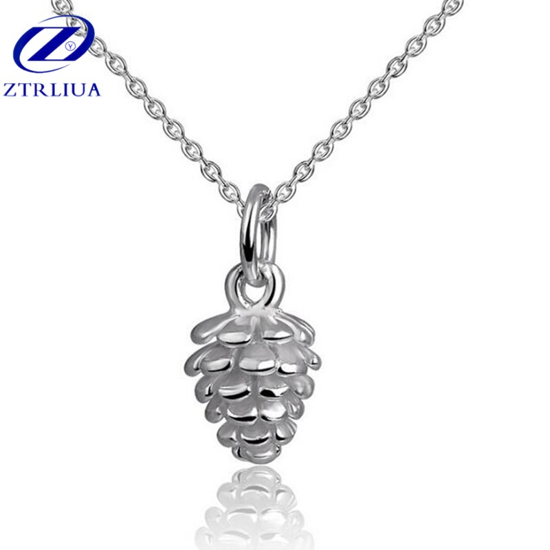 Personality 925 Sterling Silver Fashion Jewelry Exquisite Pine Cone Anti allergic Clavicle Chain Pendant Necklace H125