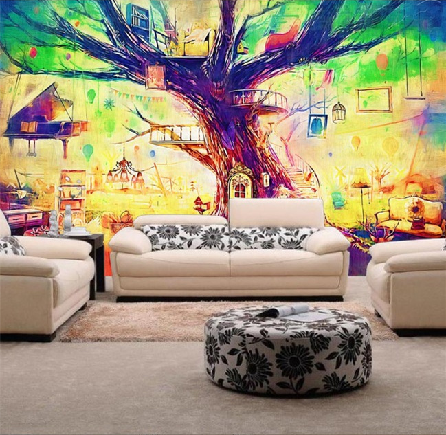 Beibehang Large Wallpaper Mural Custom Any Size Three: Beibehang Magic Hand Painted Tree Modern Luxury 3D Wall