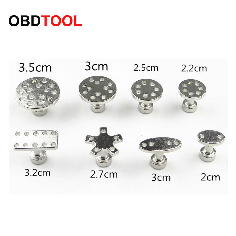 8 Size With 8pcs Auto PDR Tool Kit Aluminum Glue Puller Tabs For Car Dent Paintless Repair Dent Removal Hand Tools Suction Cup