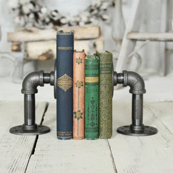 Retro Industrial Style Pipeline Bookends Novelty Vintage Pipeline Bookstand