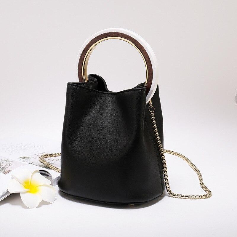 Sac à main femme en cuir fendu 2019 Vintage chaînes sac à main bandoulière femmes Chic anneau sac seau grande capacité petit sac fourre-tout - 5