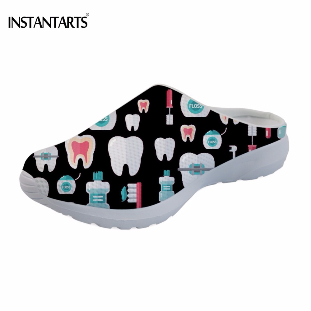 INSTANTARTS 3D Printing Dentist/Teeth Slip On Sandals Woman Casual Lightweight Summer Black/Red Beach Slippers Female Beach Shoe