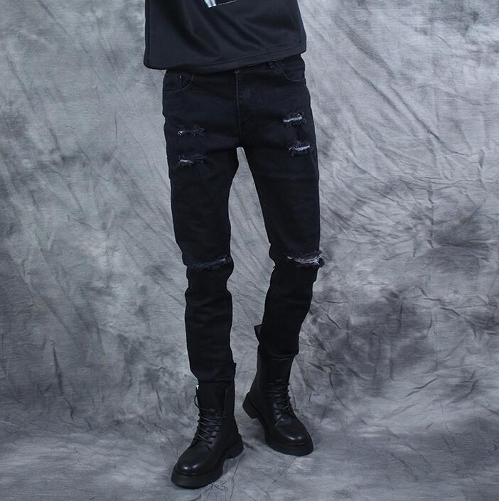 Spring new arrival male personality painted print pant mens hole jeans male slim skinny pants men feet trousers black novelty