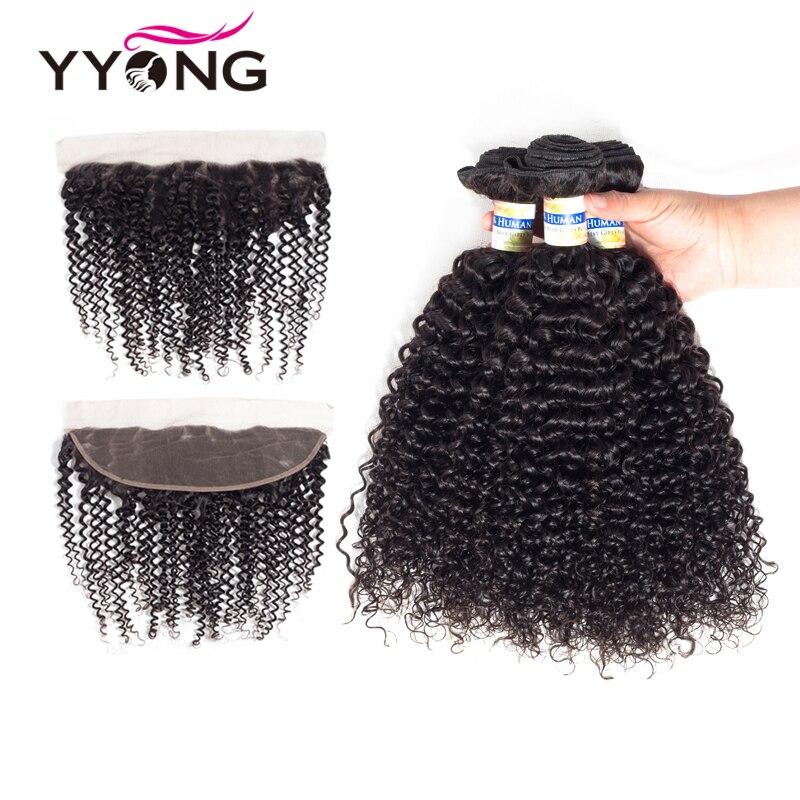 Yyong 3 Peruano Kinky Curly Cabelo Remy Pacotes Com Frontal tecer Cabelo Humano Pré Arrancadas Lace Frontal Encerramento Com Bundles 13x4