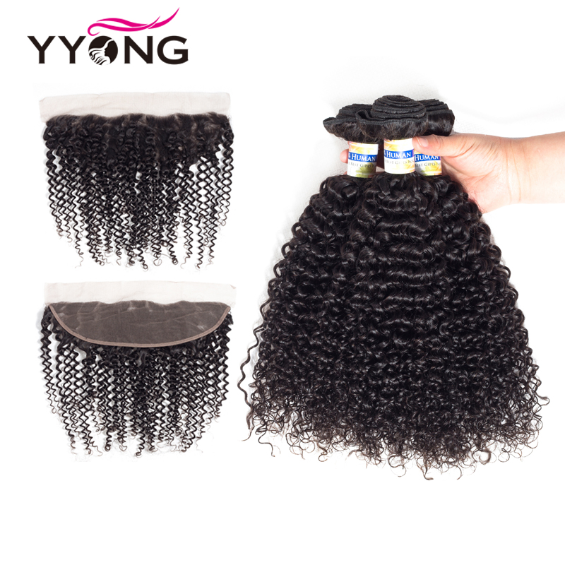 Yyong 3 Remy Hair Bundles With Frontal Peruvian Kinky Curly Weave Human Hair Pre Plucked Lace Frontal Closure With Bundles 13x4
