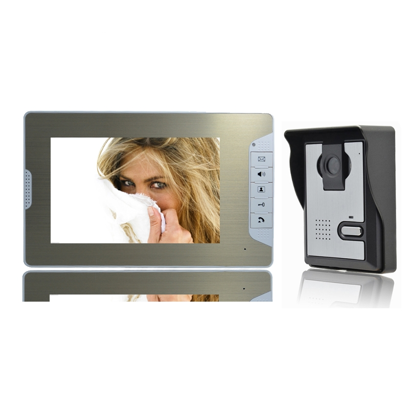 (1 set) 1 To 1 7 inch colorful LCD panel video intercom Home use night visible video door phone door bell access control system 7 inch password id card video door phone home access control system wired video intercome door bell