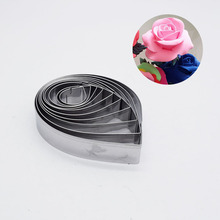 10pcs/set Clay Rose Petal Stainless Steel Cutter Mold Knife Drop Shape Fondant Flower Cutting Pottery Tools