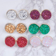 DoreenBeads Handmade Drusy Resin Dome Seals Cabochon Round Earrings Fashion Trendy Woman Jewelry 16x14mm 1Pair