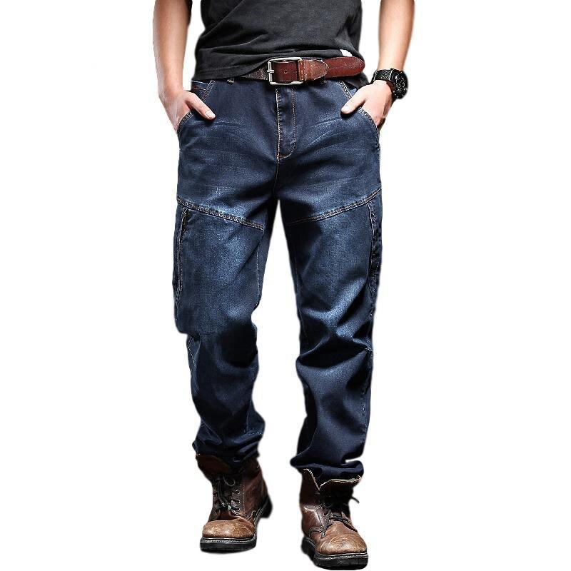MORUANCLE Men's Casual Baggy Cargo Jeans Pants With Zipper Pockets Military Tactical Denim Biker Jeans Loose Fit Plus Size 29 42