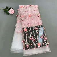 Pink latest design 3D lace fabric with 3D flower ball Nigerian lace face for wedding dress HJ224 1