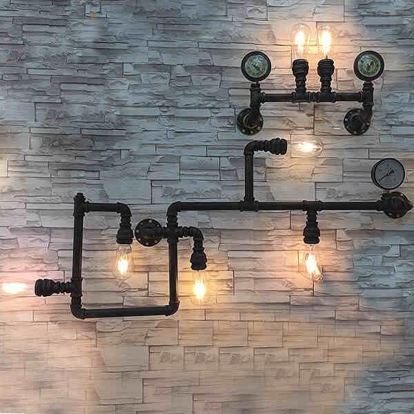 Tubo di acqua di ferro lampada da parete della luce, loft americano annata nostalgico balcone ...