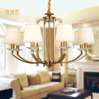 Fabric Lampshade Chandelier Modern Gloden Chandeliers Luxury Indoor Lighting Fixture Copper Chandelier White Lampshade