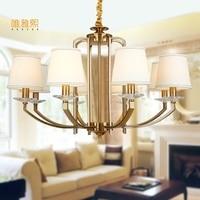 Fabric Lampshade Chandelier Modern Gloden Chandeliers Luxury Indoor Lighting Fixture Copper Chandelier White Lampshade