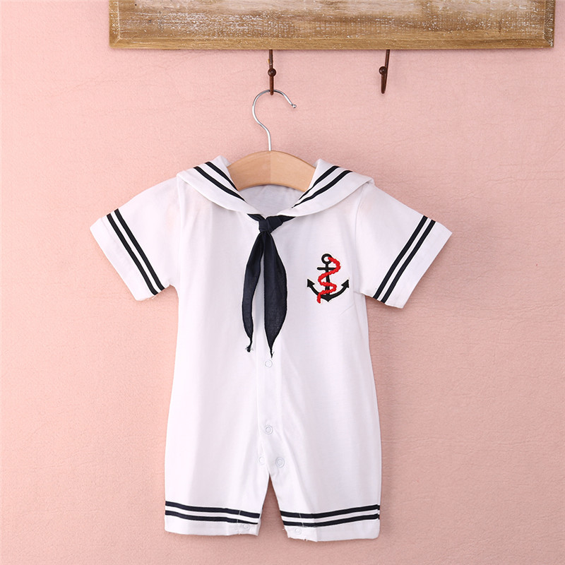 Hot Sale Newborn Baby Boy navy Style   Romper   Summer Sailor Jumpsuit One-piece Outfits 0-18Months