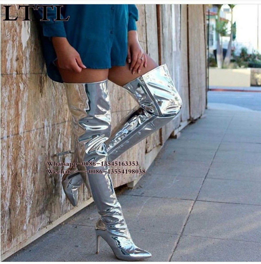 Silver Mirror Leather Over Knee boots Fashion Pointed Toe Ladies High Heels Thigh High Boots Metallic Sexy Women Boots Stiletto