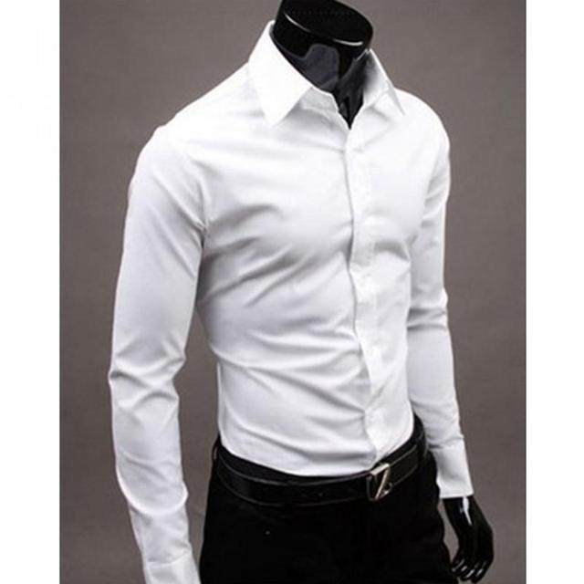 Men Shirt 2016 Summer Fashion Style Long-Sleeve Shirt Pure Color Style Slim Shirts Streetware Casula Close Size M L XL