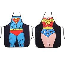 Fanny Superman & Wonder Woman Anime Cartoon Hero  Modern Family Apron Couple Kitchen Aprons Barbecue/BBQ Apron