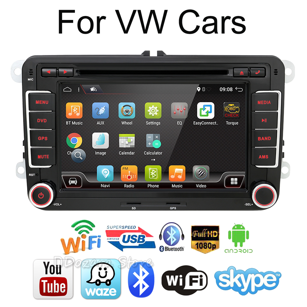 3G Quad Core 2 din Android 7.1 Car DVD player for VW GOLF 5 Golf 6 POLO PASSAT SKODA CC JETTA TIGUAN TOURAN GPS joying px5 octa 8 core 2gb ram android 8 0 car radio player for vw golf 5 6 polo passat jetta tiguan touran eos gps navigation
