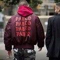 Есть логотип Пабло хип-хоп MA1 Бомбардировщик Куртки Мужчины Yeezy 3 хип-Хоп Толщиной моды Пальто ЗАПАД Бомбардировщик Куртка Мужчины Ветровка куртки