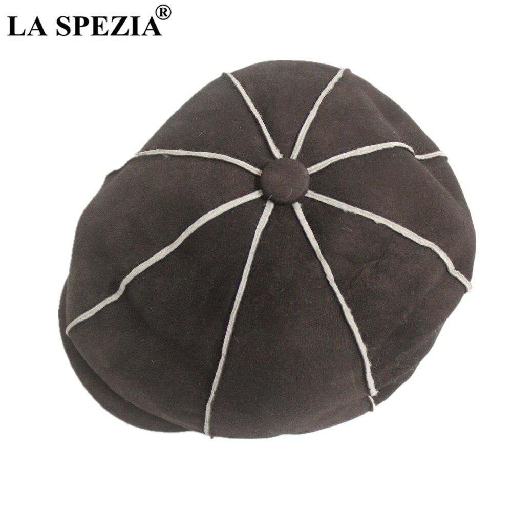 LA SPEZIA hommes gavroche casquette hiver laine véritable cuir chapeaux pour hommes béret véritable peau de mouton marron haute qualité octogonale Gatsby chapeau