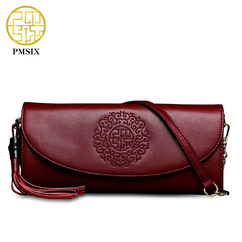 Pmsix luxurious ladies bags   Split Leather Chinese Style Tassel Red Women Shoulder Bag Embroidery soft Simple clutches  P420037