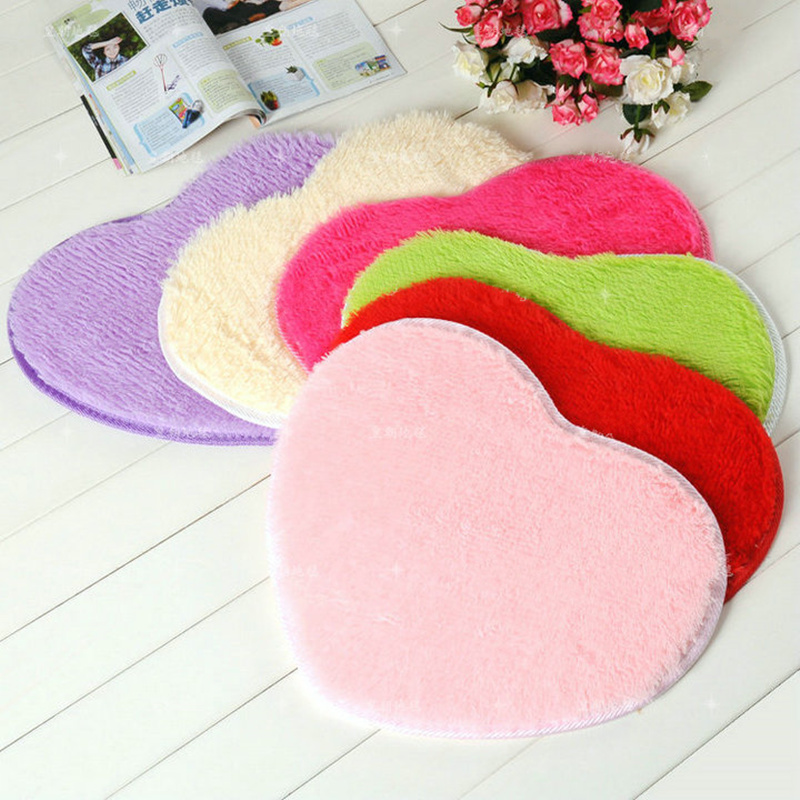 ②Pure heart-shaped thick bathroom carpet for living room Anti-Slip ...