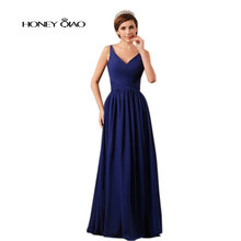 Honig Qiao Marineblau Chiffon Promkleider V-ausschnitt SleevelessPleat Drapierte Bodenlangen Glamorous Abendkleider Vestido De Festa