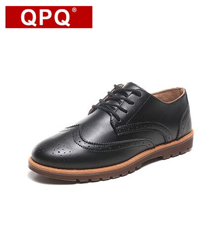 QPQ New 2017 Spring Autumn Fashion Casual Men Shoes Lace-up Breathable Retro Genuine Leather Shoes 39-44 Discount Free Shipping 2017 new summer breathable men casual shoes autumn fashion men trainers shoes men s lace up zapatillas deportivas 36 45