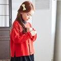 2016 Outono E Inverno Crianças Meninas Camisola de Malha Cardigan Sweater Casaco Ambos Os Lados Usam Tipo Costela Bolso Projeto Camisolas 3-14Y