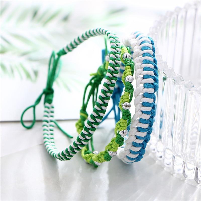 ROMAD Handmade Lucky Rope Bracelet for Women Men Size Adjustable Green White Blue Knots Friendship 3 Layer Bracelet R4