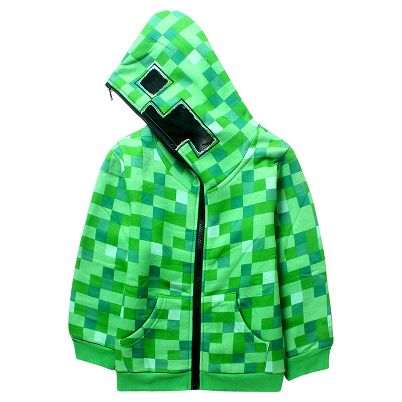 cute kids hooded jacket coat green plaid plus thick sweatshirt jacket for 5-14years children boys girls outerwear jacket clothes